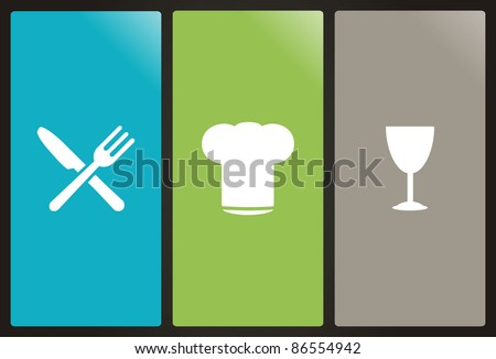 Chef's hat, fork, knife and glass - stock vector