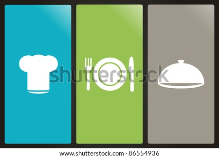 Chef's hat, plate, fork, knife and casserole