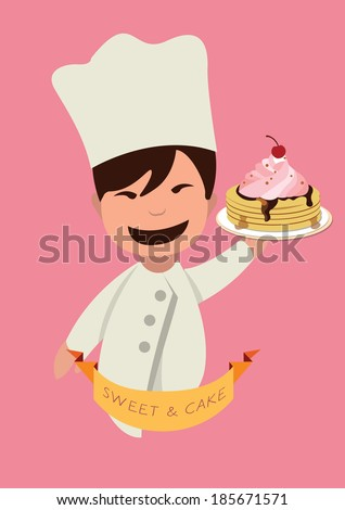 chef serving the cake. concept vector illustration - stock vector