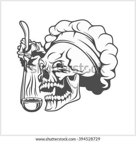 Chef skull in toque. Cook skull with a ladle. - stock vector