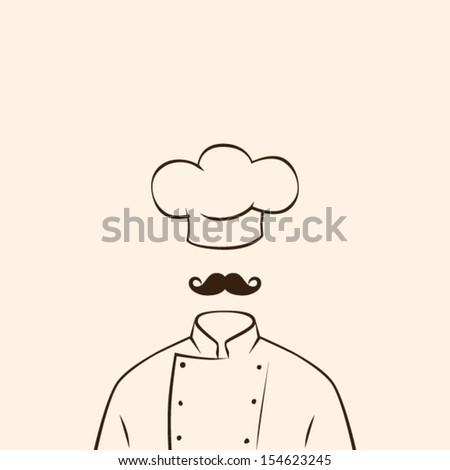 Chef symbol uniform shirt and hat. Vector illustration background - stock vector