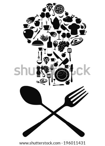 chef symbol with spoon and knife - stock vector