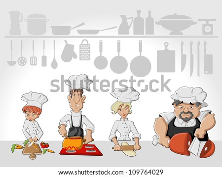 Chef team cooking delicious meal in restaurant kitchen. Gourmet food. - stock vector