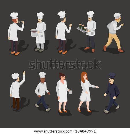 chef vector. people isometric vector set - stock vector