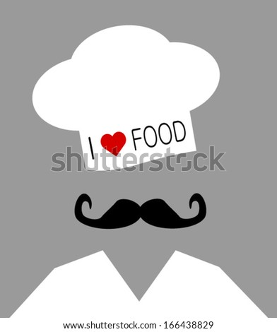chef wearing I love food hat - stock vector