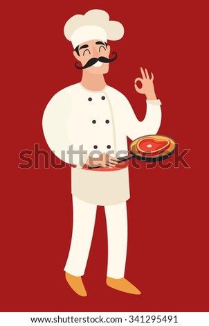 Chef with a frying pan with the meat (steak) in his left hand and his left hand okay sign. Cartoon flat character, isolated on the red background - stock vector