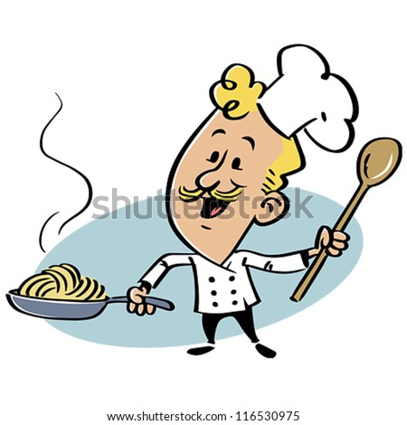 Chef with a pan with spaghetti. The character can be separated from ...