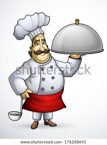 Chef with a signature dishes  - stock vector