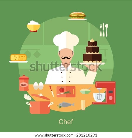Chef with cooking objects and appliances, tools and kitchenware and food icons. Vector flat design concept banner illustration - stock vector