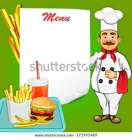 Chef with fast food product - stock vector