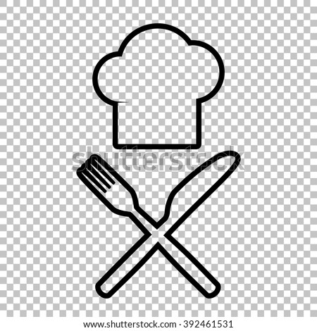 Chef with knife and fork sign. Line icon on transparent background - stock vector