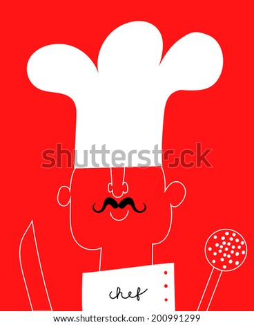 chef with knife and skimmer - stock vector