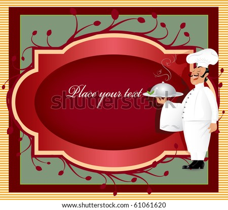 Chef with label - stock vector