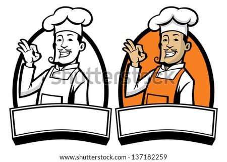 chef with okay sign hand - stock vector