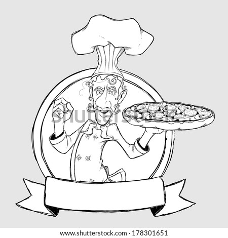 Chef with pizza in the sign. Freehand drawing - stock vector