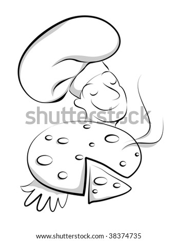 Chef with pizza(vector) In the gallery also available high resolution jpeg image made from this vector   - stock vector