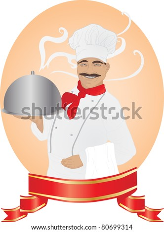 Chef with tray of food in hand and ribbon - stock vector