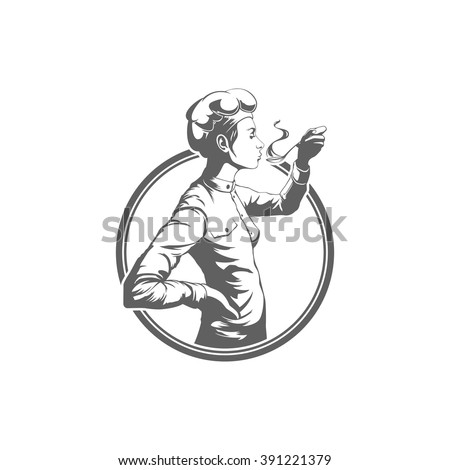Chef Woman Testing Food Logo Vector Illustration. Chef Silhouette Isolated On White Background. Vector object for Labels and Badges, Logos Design. Restaurant Logo, Chef Logo, Hat Symbol. - stock vector