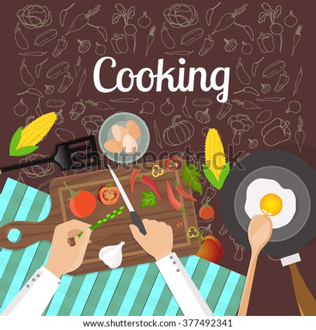 Chef working and cooking a vegetarian meal, hands at work close up. with vegetables doodles background - stock vector