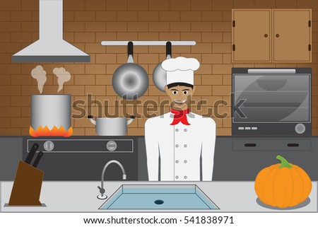 Restaurant Kitchen Illustration two cooks kitchen gourmet chefs vector stock vector 665519584