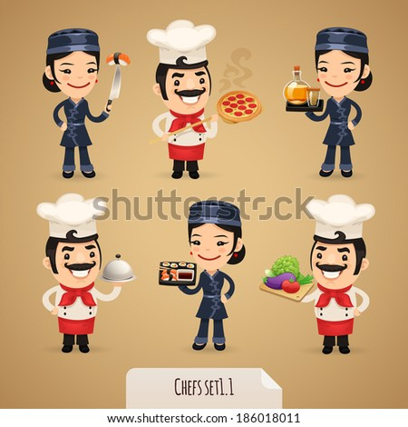 Chefs Cartoon Characters Set1.1 In the EPS file, each element is grouped separately. - stock vector