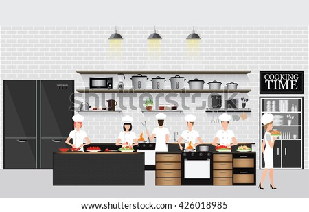Chefs cooking at the table in restaurant kitchen interior with kitchen shelves and cooking utensils, equipment on counter with bricks patterned background, vector illustration. - stock vector