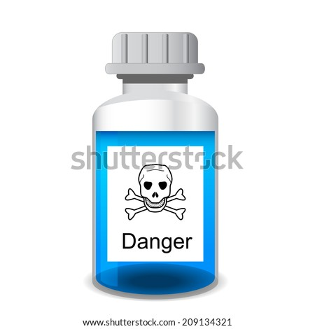 Chemical bottle with colored toxic poisonous solution - laboratory glassware, 3d illustration, isolated on white background, vector, eps 10 - stock vector