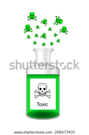 Chemical bottle with steamy toxic poisonous solution - laboratory glassware, 3d illustration, isolated on white background, vector, eps 10 - stock vector