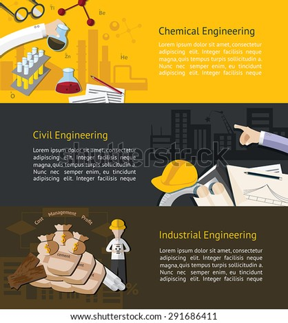 Chemical, civil, and industrial engineering education infographic banner template layout background website page design, create by vector  - stock vector
