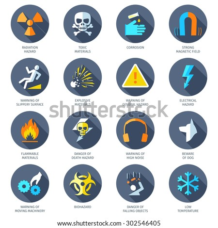 Chemical electrical radiation and other dangerous hazard icons flat set isolated vector illustration - stock vector
