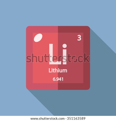 chemical element Lithium. Flat design style modern vector illustration. Isolated on background. Elements in flat design. - stock vector