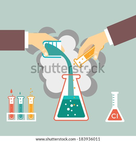 chemical experiment, hand mixed chemicals vector illustration - stock vector