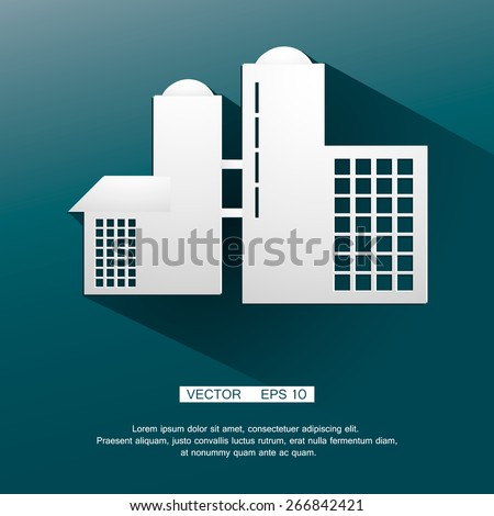Chemical factory silhouette for industrial and technology design. - stock vector