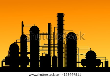 Chemical factory silhouette for industrial and technology design. Jpeg version also available in gallery - stock vector