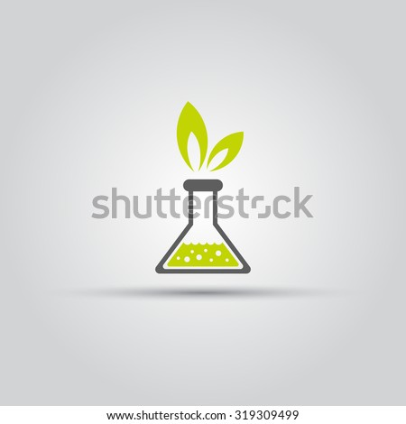 Chemical flask and green leafs isolated vector icon, laboratory icon, lab flask icon - stock vector