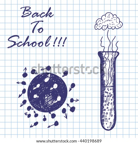 Chemical flask. Doodle sketch on checkered paper background. Vector illustration. - stock vector