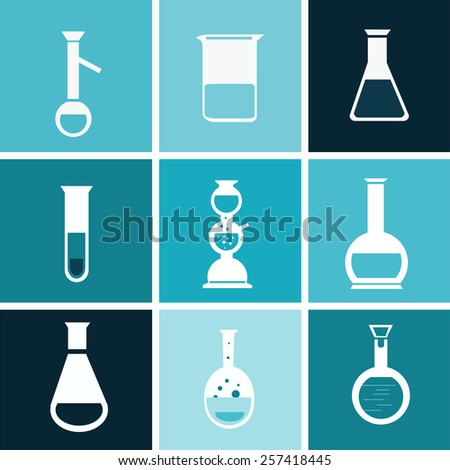 chemical  flat test tube  vector - stock vector