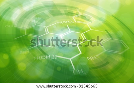 Chemical formulas & green ecology radial background - science illustration. Eps10 - stock vector