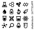 Chemical icons set on white background. Vector. - stock
