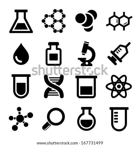 Chemical icons set on white background. Vector. - stock vector