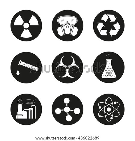 Chemical industry icons set. Gas mask, recycle symbol, chemical test tube, danger liquid, factory pollution. Biohazard, radiation, atom and molecule symbol. Vector white illustrations in black circles - stock vector