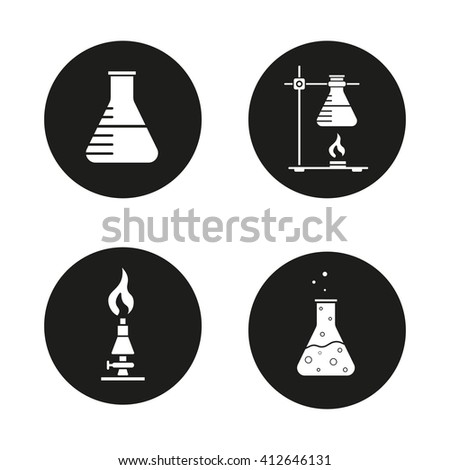 Chemical lab icons set. Beaker, ring stand with flask, lan burner and chemical reaction in flask. Science laboratory equipment. Vector white illustrations in black circles - stock vector