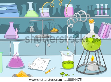 Chemical Laboratory. Cartoon Background. Vector Illustration EPS 10. - stock vector