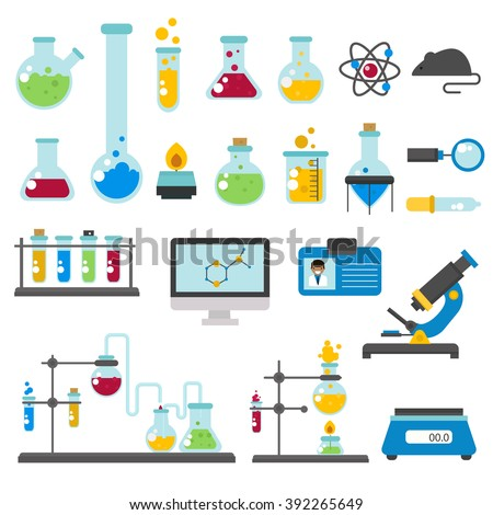 Chemical laboratory equipment and medical chemical laboratory tools vector. Graphic set chemical laboratory science and chemical objects flat vector.  - stock vector