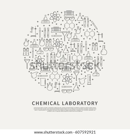 Chemical laboratory equipment brochure template circle stock vector chemical laboratory equipment brochure template circle poster with vector linear icons for research in chemistry ccuart Images