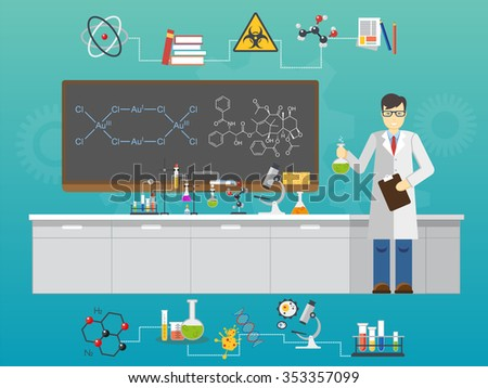 Chemical laboratory science and technology flat style design vector illustration. Scientists workplace concept. Laboratory concept, Laboratory illustration, Laboratory image, Laboratory science - stock vector