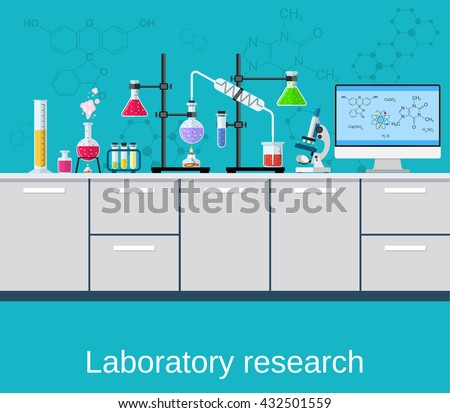 Chemical laboratory science and technology. Scientists workplace concept. Science, education, chemistry, experiment, laboratory concept. vector illustration in flat design - stock vector