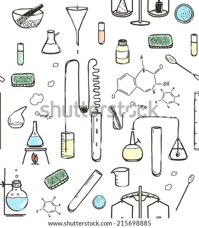 Chemical Laboratory Seamless Pattern. Hand drawn lab tools and equipment. Vector illustration EPS8 - stock vector