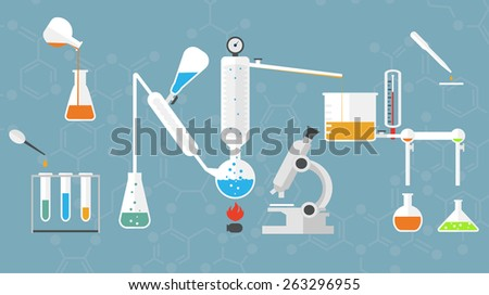 Chemical laboratory tubes and glasses, microscope, liquids and reagents.