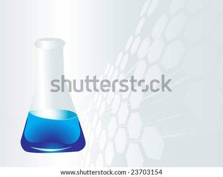 chemical laboratory vector illustration, glassware equipment with blue chemical - stock vector